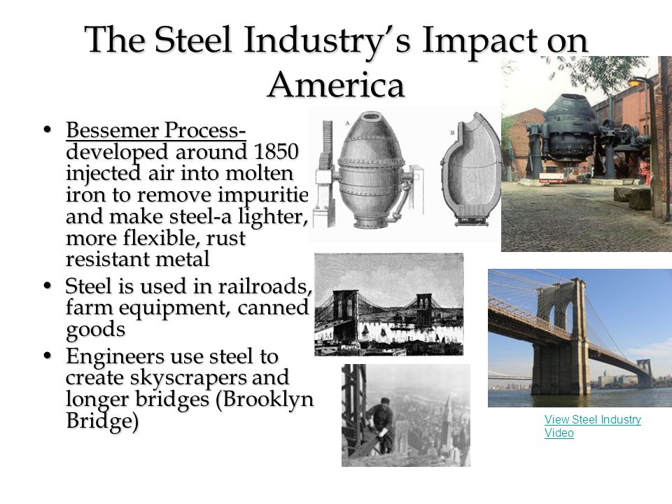 The Steel Industry's Impact on America Bessemer Process- developed around 1850 injected air into molten iron to remove impurities and make steel-a lig