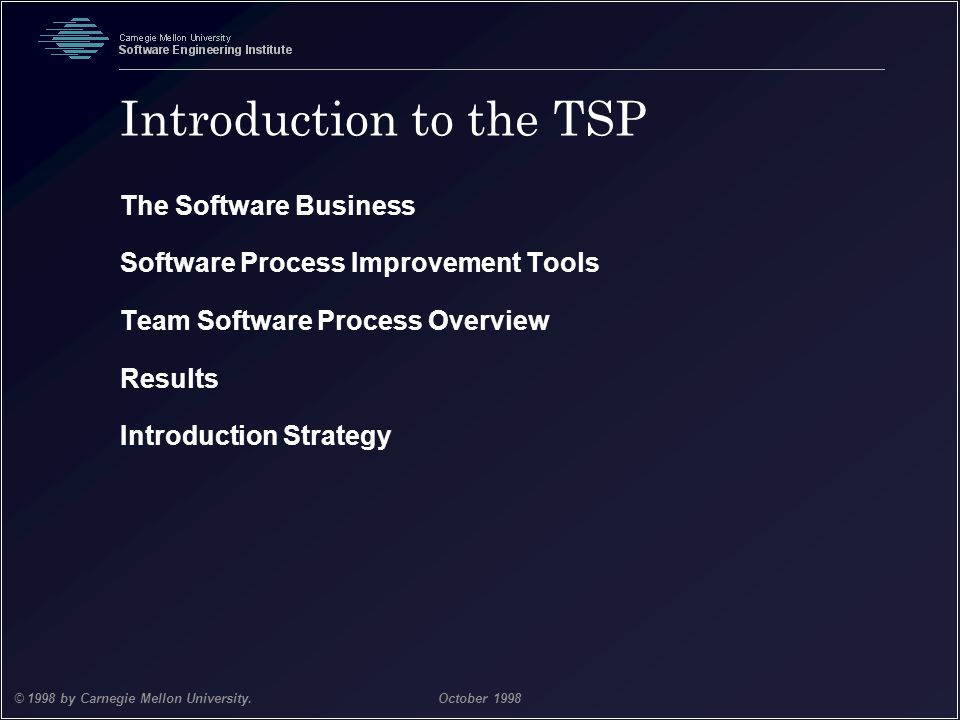 Team Software Process 2 © 1998 by Carnegie Mellon University.October 1998 Introduction to the TSP The Software Business Software Process Improvement T