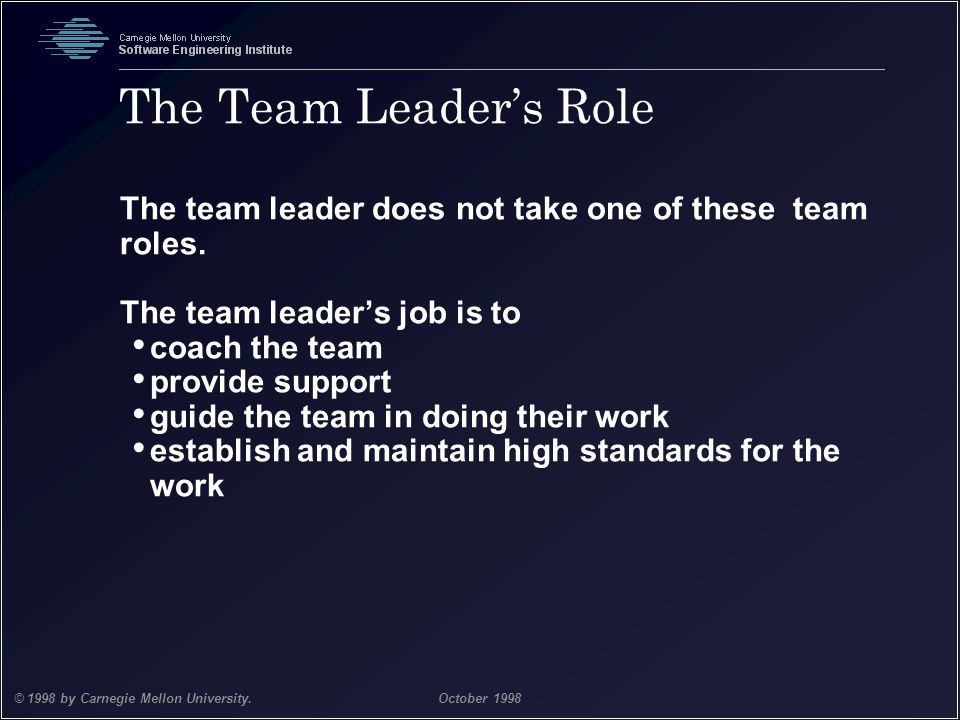 Team Software Process 21 © 1998 by Carnegie Mellon University.October 1998 The Team Leader's Role The team leader does not take one of these team role