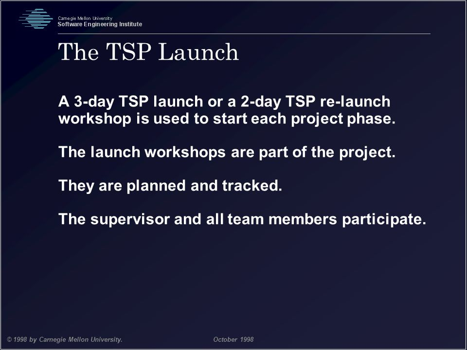 Team Software Process 25 © 1998 by Carnegie Mellon University.October 1998 The TSP Launch A 3-day TSP launch or a 2-day TSP re-launch workshop is used