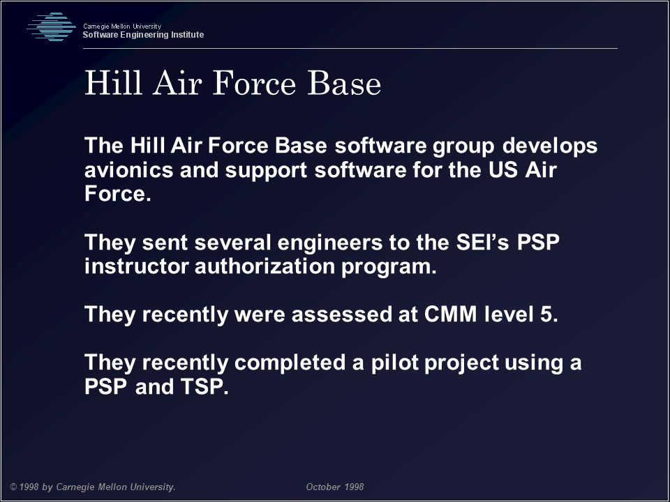 Team Software Process 32 © 1998 by Carnegie Mellon University.October 1998 Hill Air Force Base The Hill Air Force Base software group develops avionic
