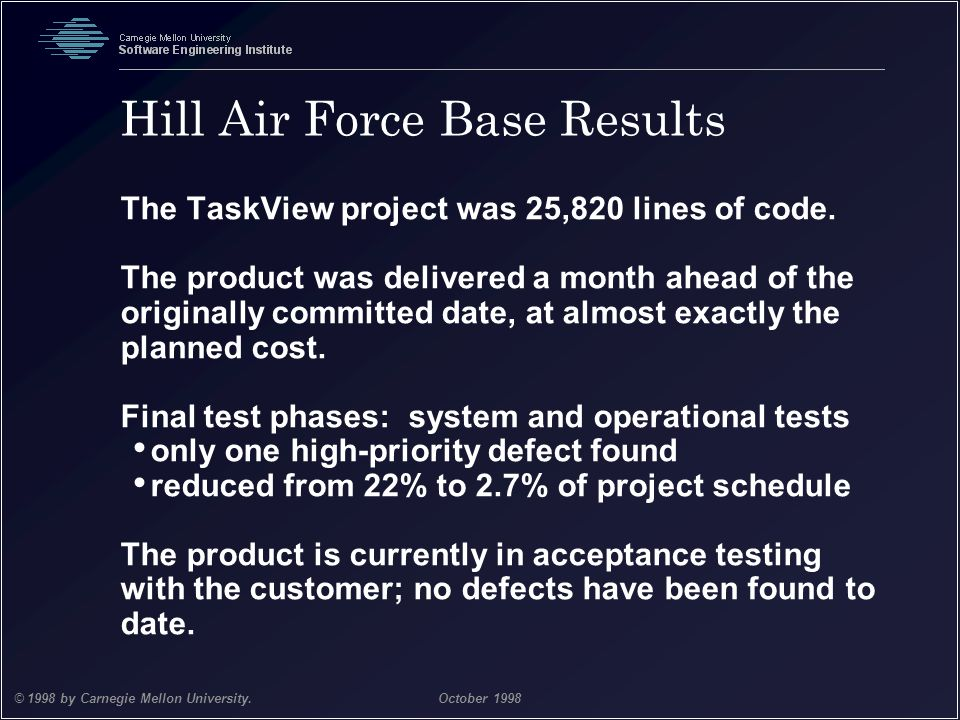 Team Software Process 33 © 1998 by Carnegie Mellon University.October 1998 Hill Air Force Base Results The TaskView project was 25,820 lines of code.
