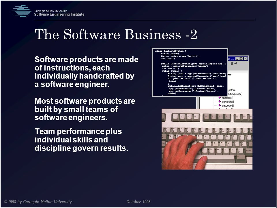 Team Software Process 4 © 1998 by Carnegie Mellon University.October 1998 The Software Business -2 Software products are made of instructions, each in
