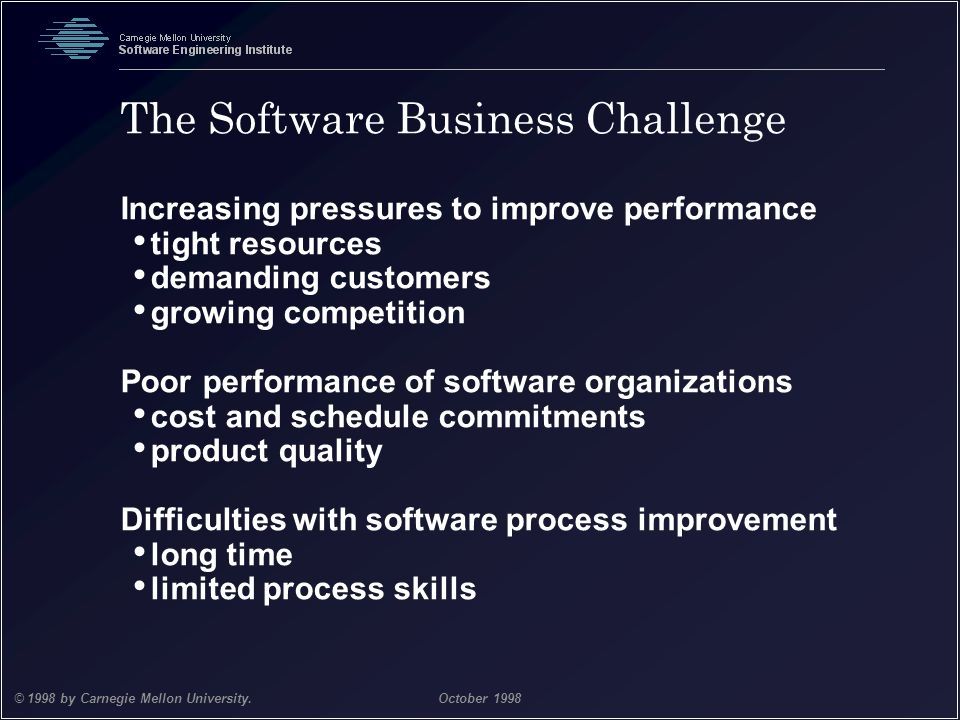 Team Software Process 5 © 1998 by Carnegie Mellon University.October 1998 The Software Business Challenge Increasing pressures to improve performance
