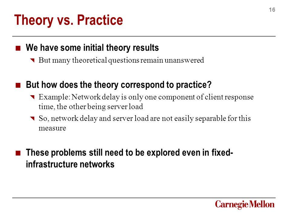 16 Carnegie Mellon Theory vs.