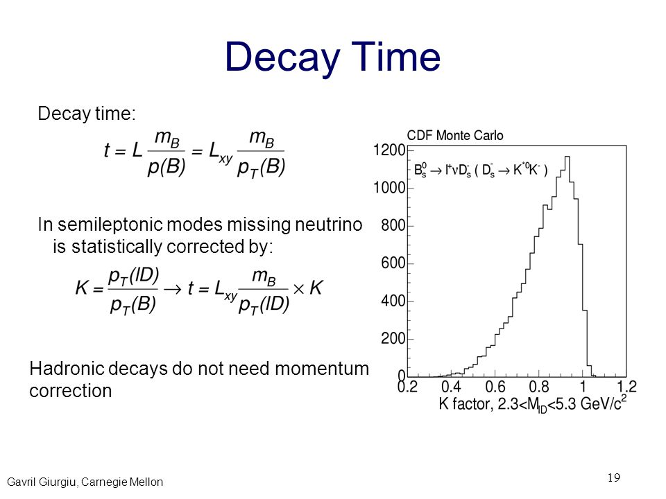 Gavril Giurgiu, Carnegie Mellon 19 Decay Time Decay time: In semileptonic modes missing neutrino is statistically corrected by: Hadronic decays do not