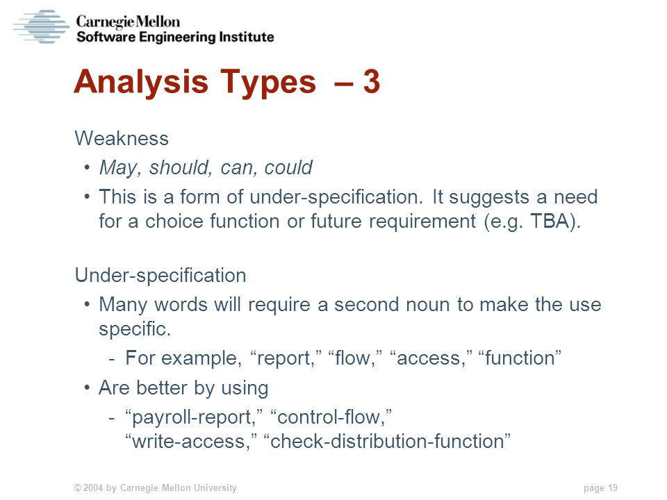 © 2004 by Carnegie Mellon University page 19 Analysis Types – 3 Weakness May, should, can, could This is a form of under-specification. It suggests a