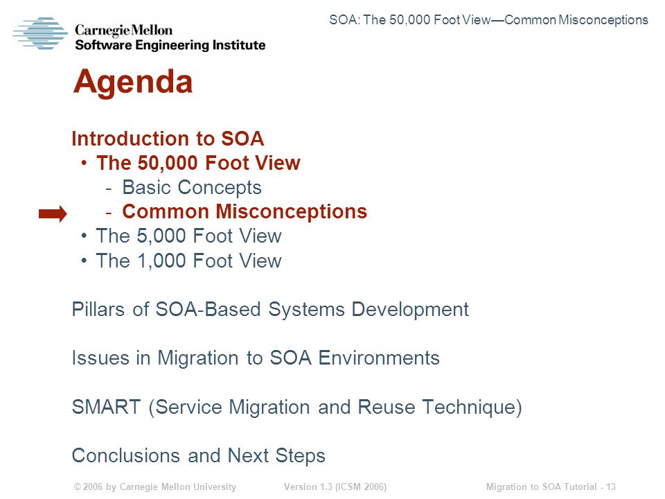 © 2006 by Carnegie Mellon University Version 1.3 (ICSM 2006) Migration to SOA Tutorial - 13 Agenda Introduction to SOA The 50,000 Foot View -Basic Concepts -Common Misconceptions The 5,000 Foot View The 1,000 Foot View Pillars of SOA-Based Systems Development Issues in Migration to SOA Environments SMART (Service Migration and Reuse Technique) Conclusions and Next Steps SOA: The 50,000 Foot View—Common Misconceptions
