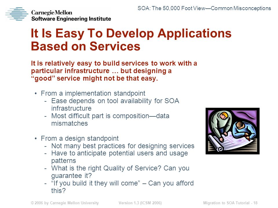 © 2006 by Carnegie Mellon University Version 1.3 (ICSM 2006) Migration to SOA Tutorial - 18 It Is Easy To Develop Applications Based on Services It is relatively easy to build services to work with a particular infrastructure … but designing a good service might not be that easy.