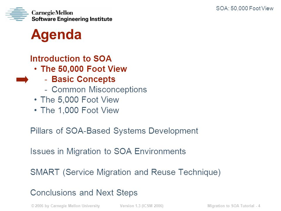 © 2006 by Carnegie Mellon University Version 1.3 (ICSM 2006) Migration to SOA Tutorial - 4 Agenda Introduction to SOA The 50,000 Foot View -Basic Concepts -Common Misconceptions The 5,000 Foot View The 1,000 Foot View Pillars of SOA-Based Systems Development Issues in Migration to SOA Environments SMART (Service Migration and Reuse Technique) Conclusions and Next Steps SOA: 50,000 Foot View