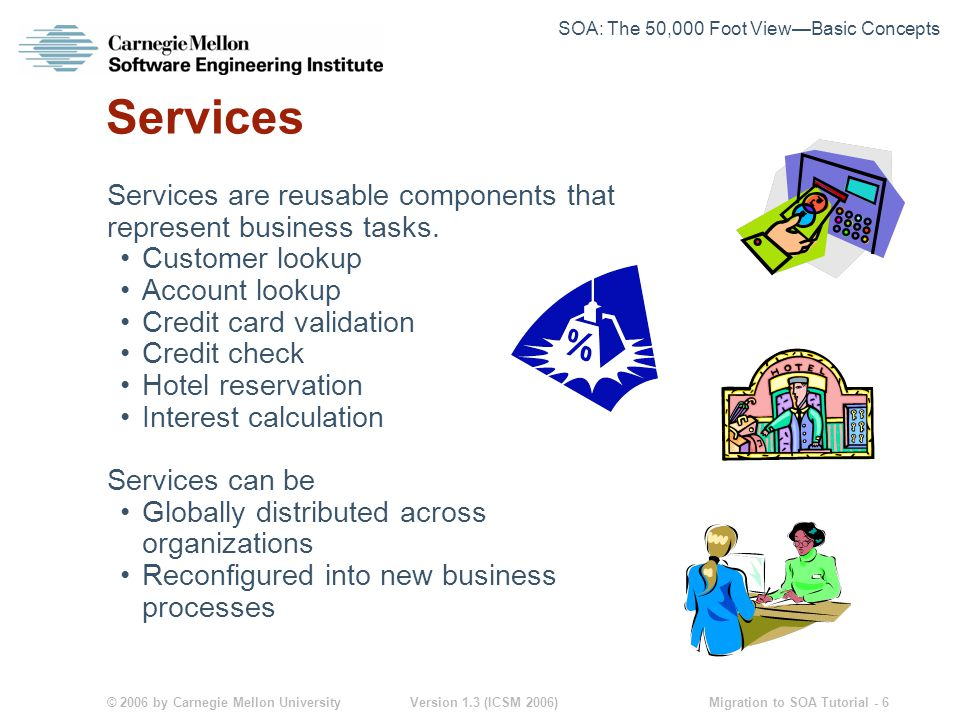 © 2006 by Carnegie Mellon University Version 1.3 (ICSM 2006) Migration to SOA Tutorial - 6 Services Services are reusable components that represent business tasks.