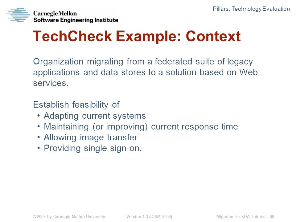 © 2006 by Carnegie Mellon University Version 1.3 (ICSM 2006) Migration to SOA Tutorial - 60 TechCheck Example: Context Organization migrating from a federated suite of legacy applications and data stores to a solution based on Web services.