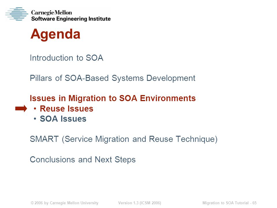 © 2006 by Carnegie Mellon University Version 1.3 (ICSM 2006) Migration to SOA Tutorial - 65 Agenda Introduction to SOA Pillars of SOA-Based Systems Development Issues in Migration to SOA Environments Reuse Issues SOA Issues SMART (Service Migration and Reuse Technique) Conclusions and Next Steps