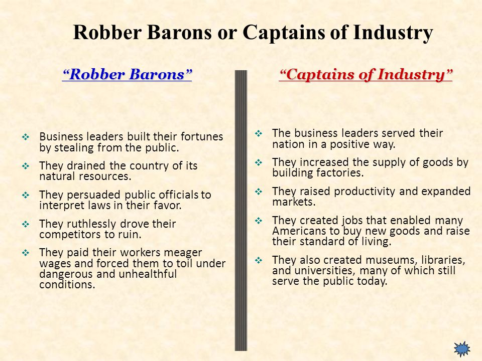 Robber Barons  Business leaders built their fortunes by stealing from the public.