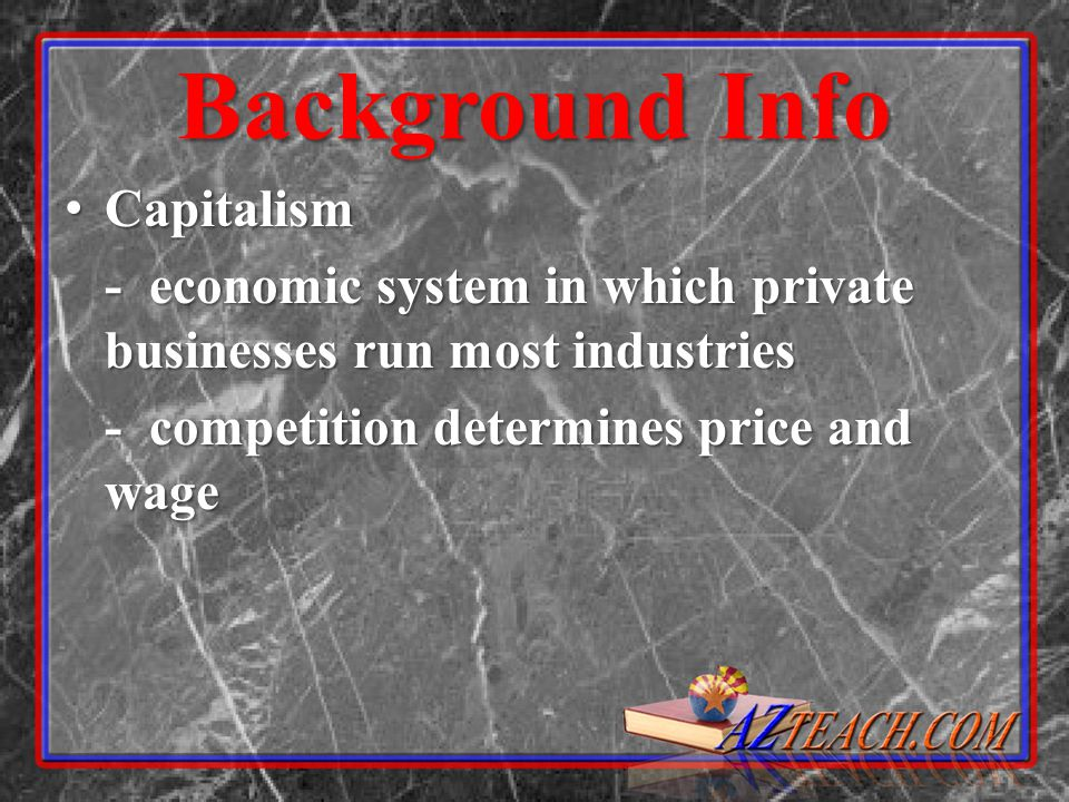 Background Info Corporation: Business organization that raises money by selling stock to the public Corporation: Business organization that raises money by selling stock to the public Trust: merging of companies turning over control to a board of trustees Trust: merging of companies turning over control to a board of trustees