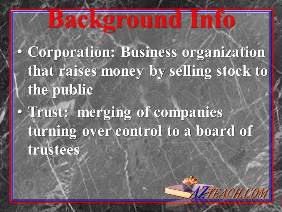 Big Business Vocabulary Corporations – companies sell shares of ownership called stocks to raise money Corporations – companies sell shares of ownership called stocks to raise money Entrepreneurs – people who take risks & organize new businesses Entrepreneurs – people who take risks & organize new businesses Capitalism – private businesses dominate the economy & promote competition Capitalism – private businesses dominate the economy & promote competition Laissez Fairre – govt.