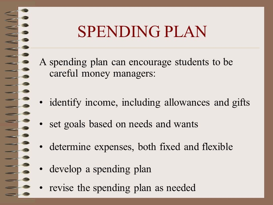 SPENDING PLAN A spending plan can encourage students to be careful money managers: identify income, including allowances and gifts set goals based on
