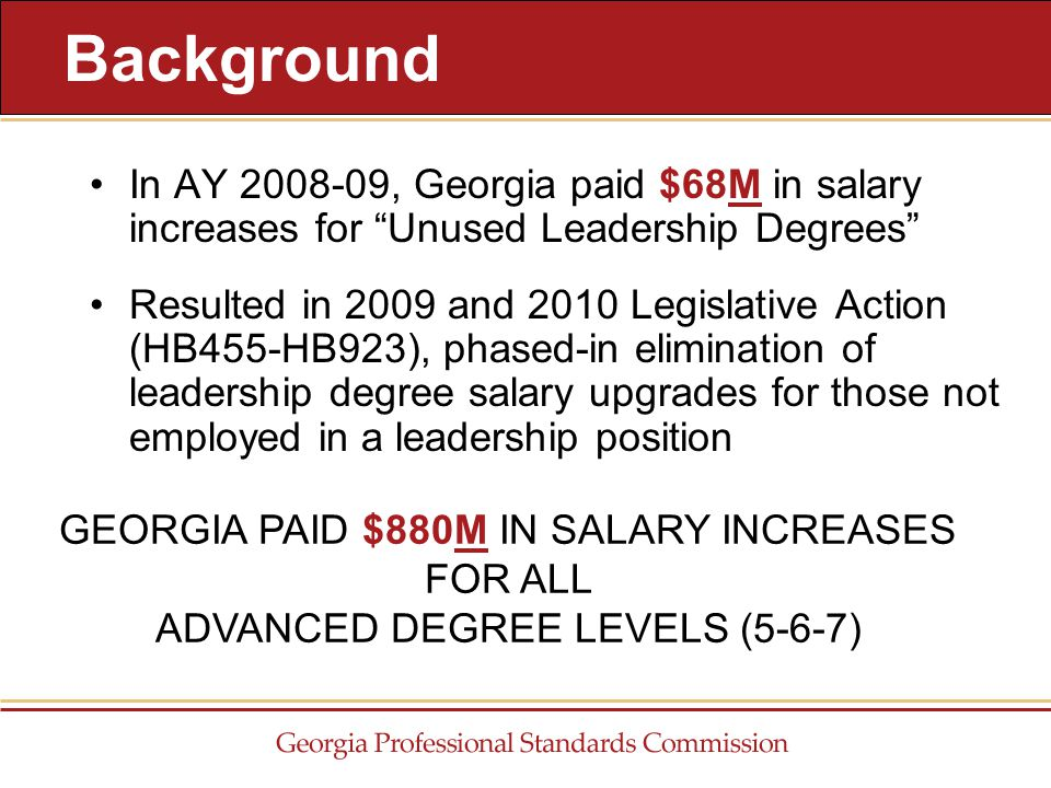 In AY 2008-09, Georgia paid $68M in salary increases for Unused Leadership Degrees Resulted in 2009 and 2010 Legislative Action (HB455-HB923), phased-in elimination of leadership degree salary upgrades for those not employed in a leadership position Background GEORGIA PAID $880M IN SALARY INCREASES FOR ALL ADVANCED DEGREE LEVELS (5-6-7)