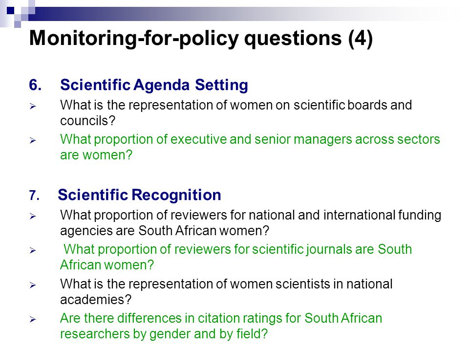 6.Scientific Agenda Setting  What is the representation of women on scientific boards and councils.