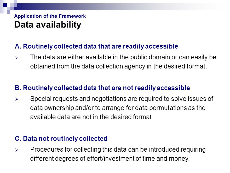 Application of the Framework Data availability A.