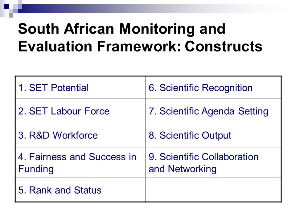 Application of the Framework Application Scenarios (2) Scenario C: International benchmarking scenario  International comparisons  Every three years  Selected indicator categories Scenario D: System review scenario  Comprehensive review of the system  Every six years  Inform all stakeholders of all aspects of the NSI  Include all constructs and main indicator categories