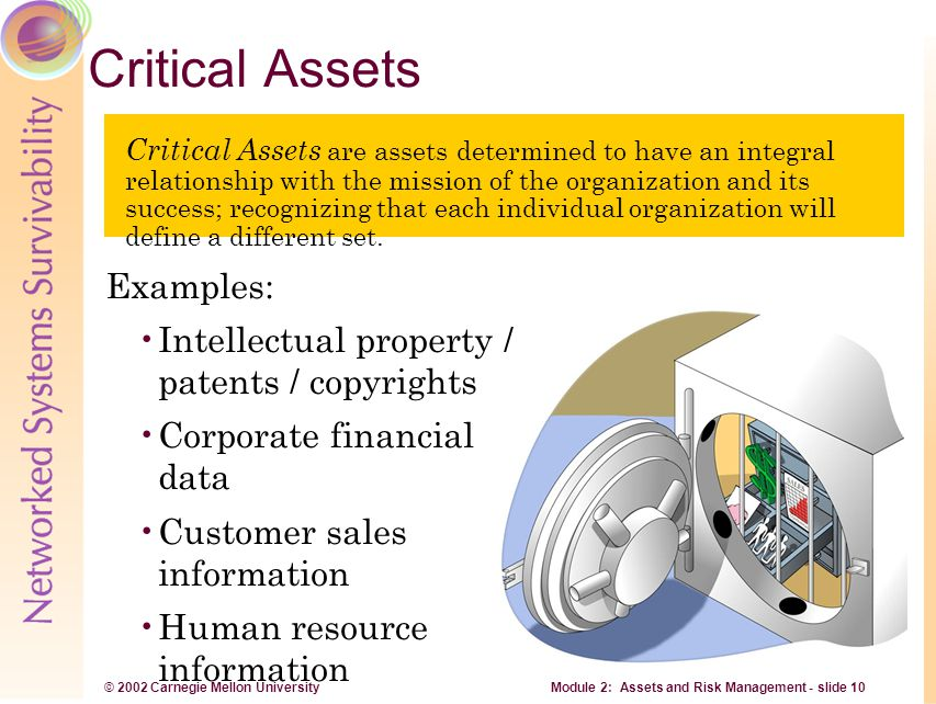 © 2002 Carnegie Mellon University Module 2: Assets and Risk Management - slide 10 Critical Assets Critical Assets are assets determined to have an int