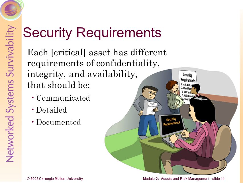 © 2002 Carnegie Mellon University Module 2: Assets and Risk Management - slide 11 Security Requirements Each [critical] asset has different requiremen