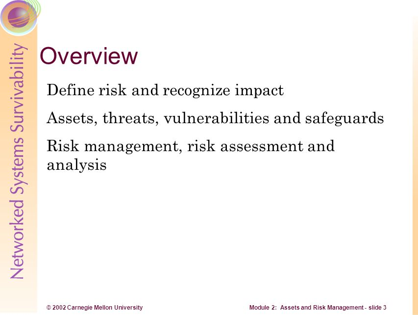 © 2002 Carnegie Mellon University Module 2: Assets and Risk Management - slide 4 Risk Risk is the possibility of suffering a loss, destruction, modification, or denial of availability of an asset.