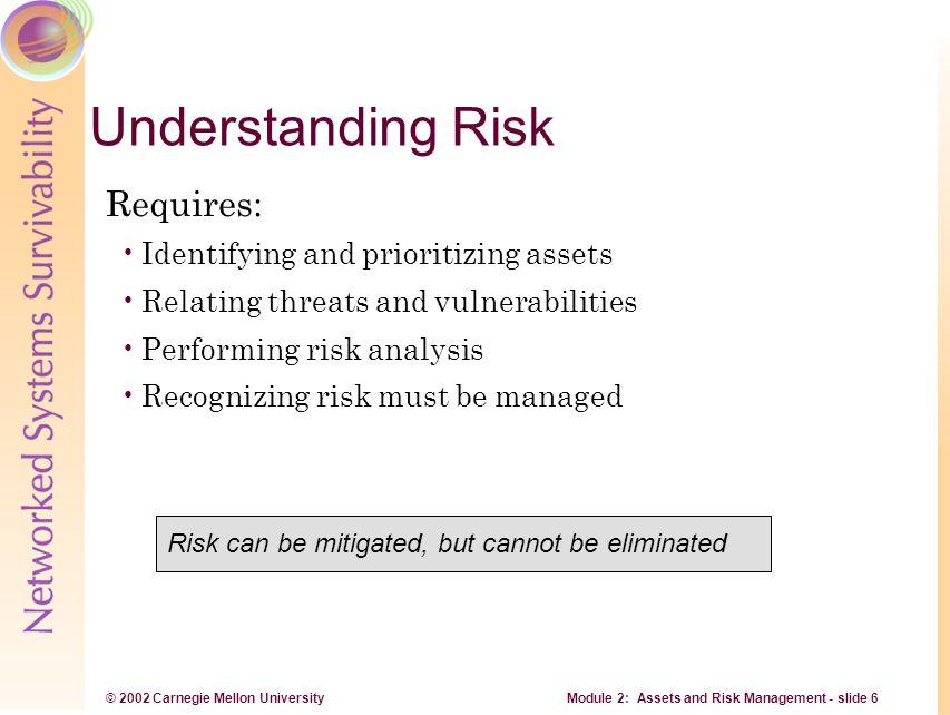 © 2002 Carnegie Mellon University Module 2: Assets and Risk Management - slide 7 Assets Assets and asset value Information Assets Other supporting assets Critical assets