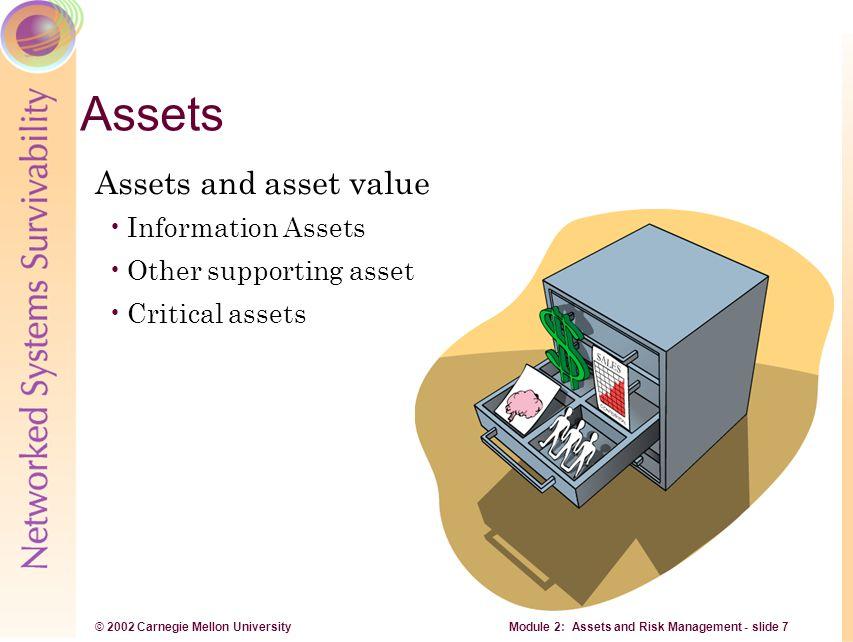 © 2002 Carnegie Mellon University Module 2: Assets and Risk Management - slide 7 Assets Assets and asset value Information Assets Other supporting ass
