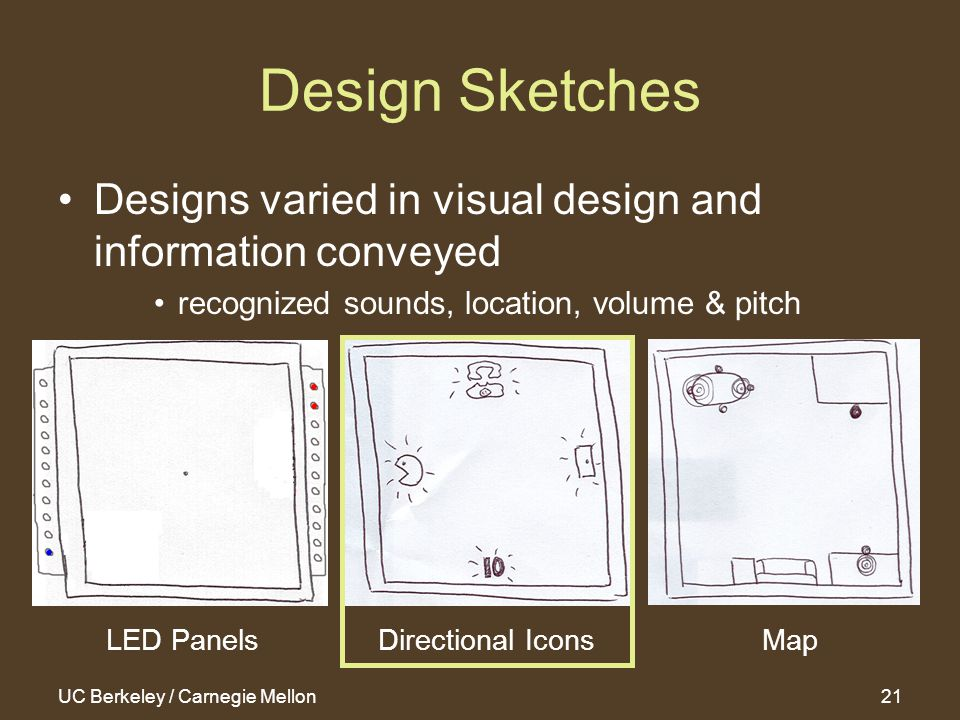 UC Berkeley / Carnegie Mellon21 Design Sketches Designs varied in visual design and information conveyed recognized sounds, location, volume & pitch LED Panels Directional IconsMap