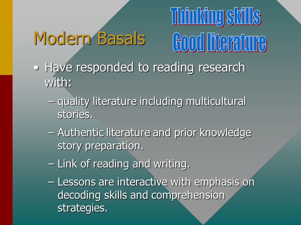 Modern Basals Have responded to reading research with:Have responded to reading research with: –quality literature including multicultural stories.