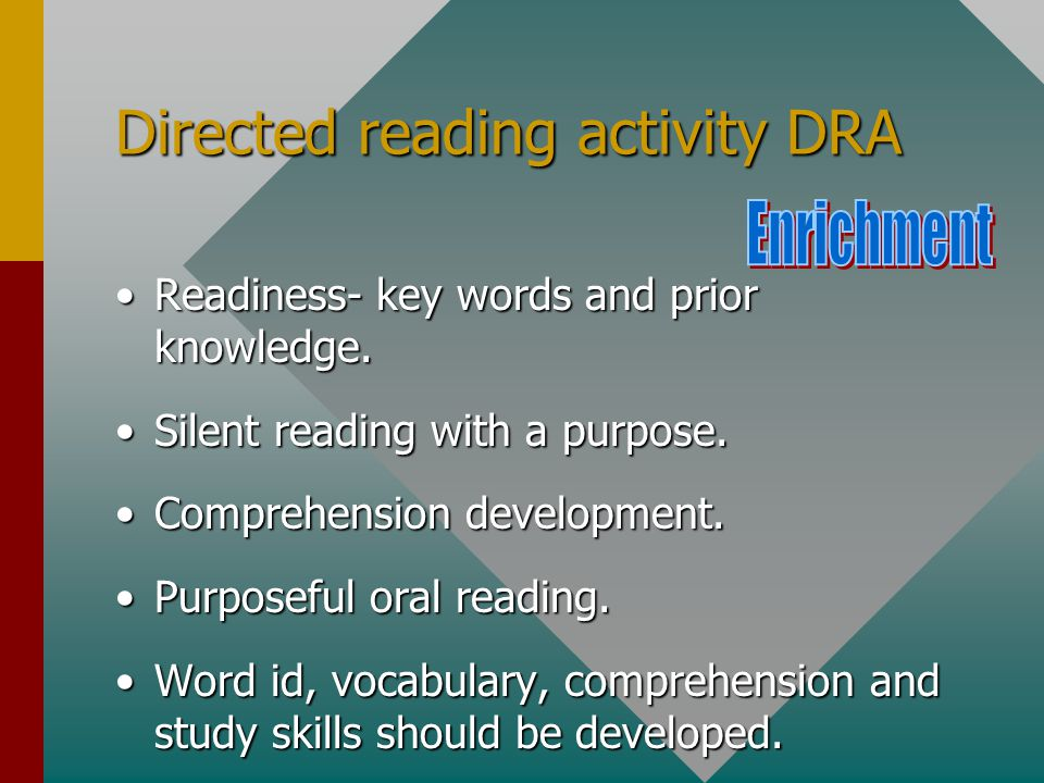 Directed reading activity DRA Readiness- key words and prior knowledge.Readiness- key words and prior knowledge.