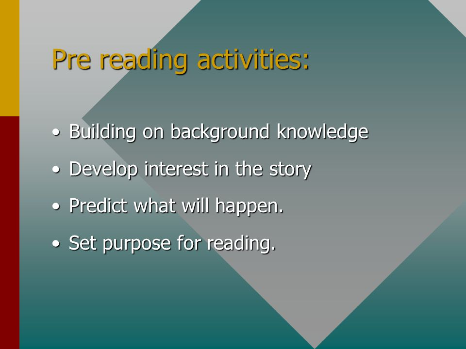 Pre reading activities: Building on background knowledgeBuilding on background knowledge Develop interest in the storyDevelop interest in the story Predict what will happen.Predict what will happen.