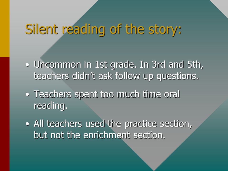Silent reading of the story: Uncommon in 1st grade.