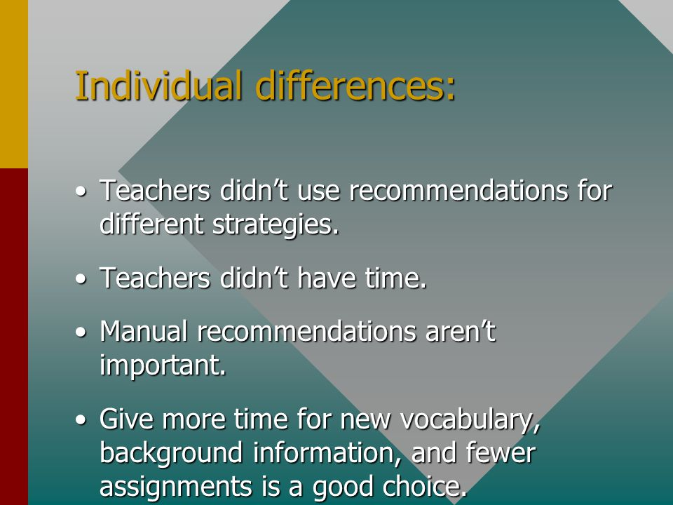 Individual differences: Teachers didn't use recommendations for different strategies.Teachers didn't use recommendations for different strategies.