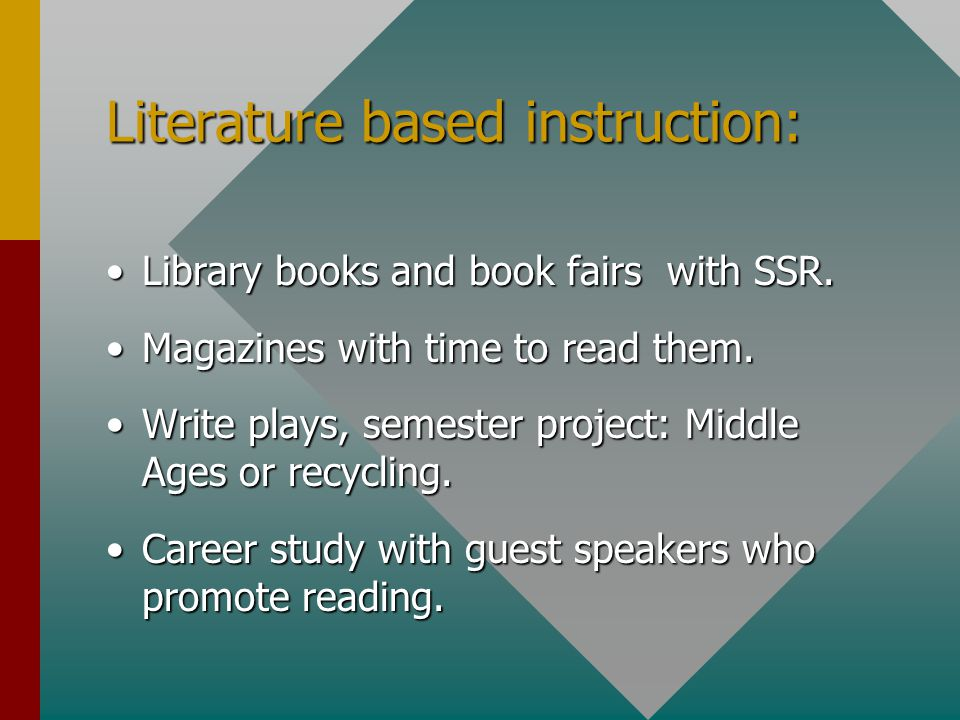 Literature based instruction: Library books and book fairs with SSR.Library books and book fairs with SSR.