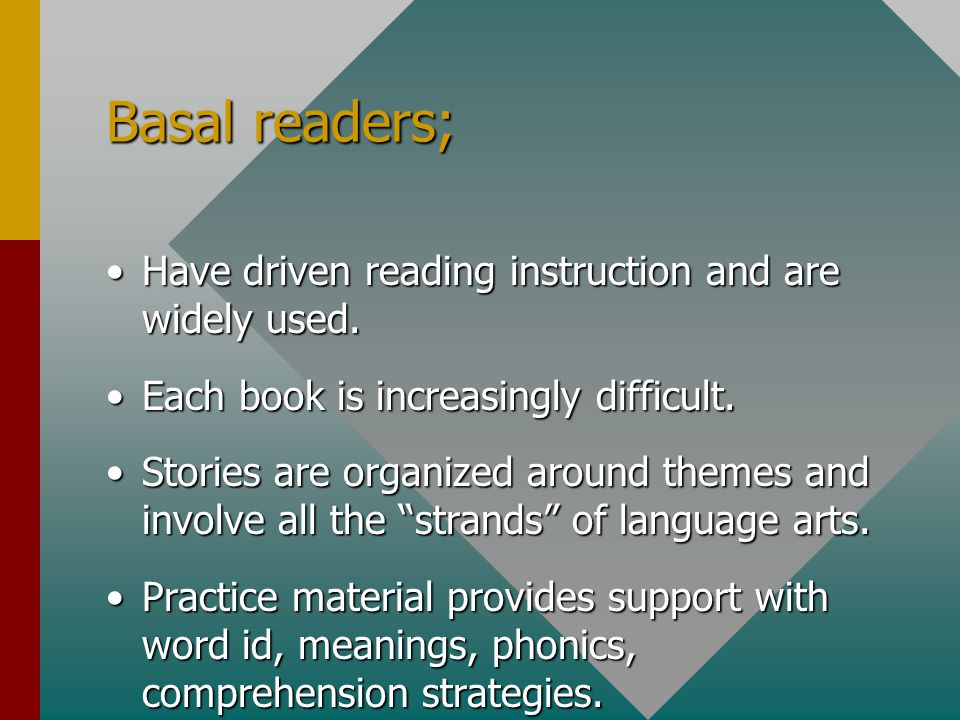 Basal readers; Have driven reading instruction and are widely used.Have driven reading instruction and are widely used.