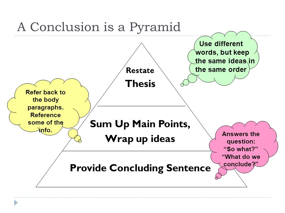 A Conclusion is a Pyramid Restate Thesis Sum Up Main Points, Wrap up ideas Provide Concluding Sentence Use different words, but keep the same ideas in the same order Refer back to the body paragraphs.