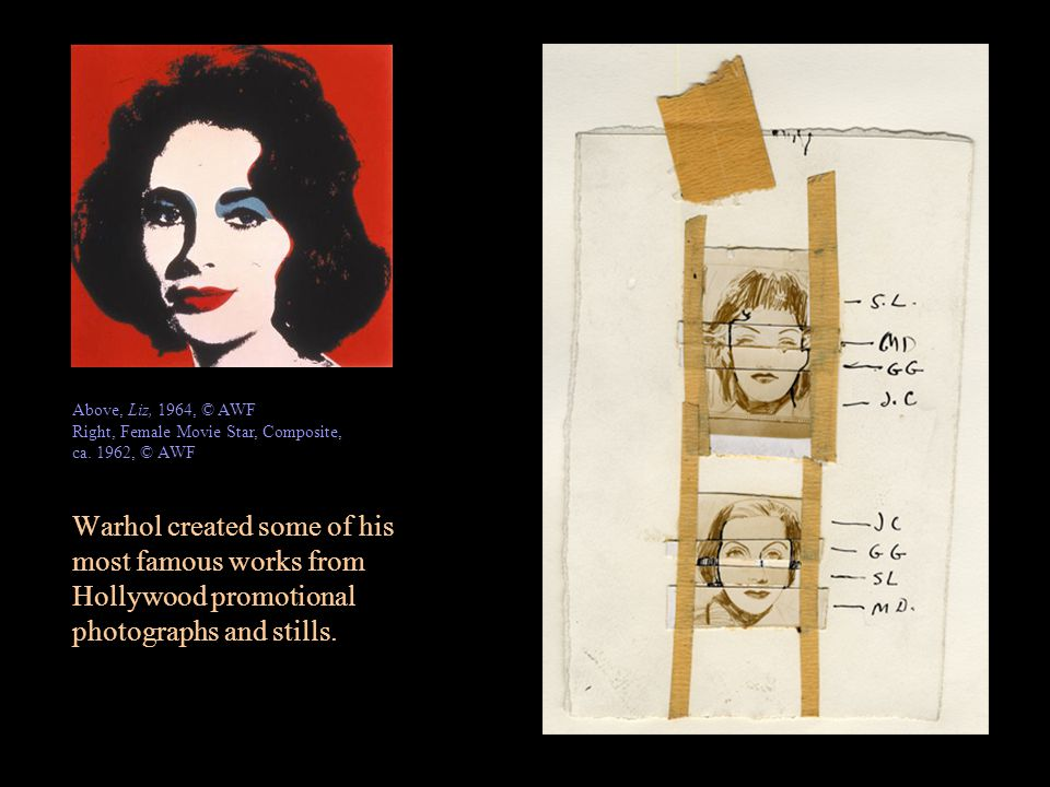 Warhol used photographic silkscreen printing in his work from the 1962 until 1987.