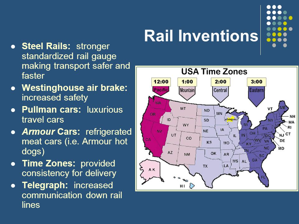 Rail Inventions Steel Rails: stronger standardized rail gauge making transport safer and faster Westinghouse air brake: increased safety Pullman cars: luxurious travel cars Armour Cars: refrigerated meat cars (i.e.