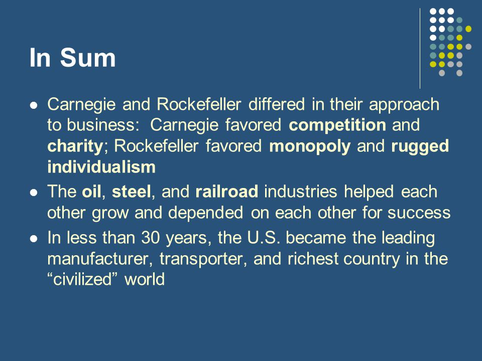 In Sum Carnegie and Rockefeller differed in their approach to business: Carnegie favored competition and charity; Rockefeller favored monopoly and rugged individualism The oil, steel, and railroad industries helped each other grow and depended on each other for success In less than 30 years, the U.S.