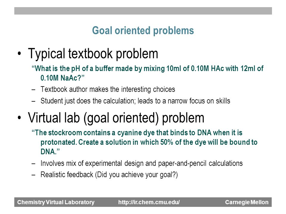 Chemistry Virtual Laboratory http://ir.chem.cmu.edu/ Carnegie Mellon Goal oriented problems Typical textbook problem What is the pH of a buffer made by mixing 10ml of 0.10M HAc with 12ml of 0.10M NaAc? –Textbook author makes the interesting choices –Student just does the calculation; leads to a narrow focus on skills Virtual lab (goal oriented) problem The stockroom contains a cyanine dye that binds to DNA when it is protonated.
