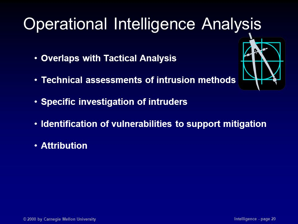 © 2000 by Carnegie Mellon University Intelligence - page 20 Operational Intelligence Analysis Overlaps with Tactical Analysis Technical assessments of intrusion methods Specific investigation of intruders Identification of vulnerabilities to support mitigation Attribution