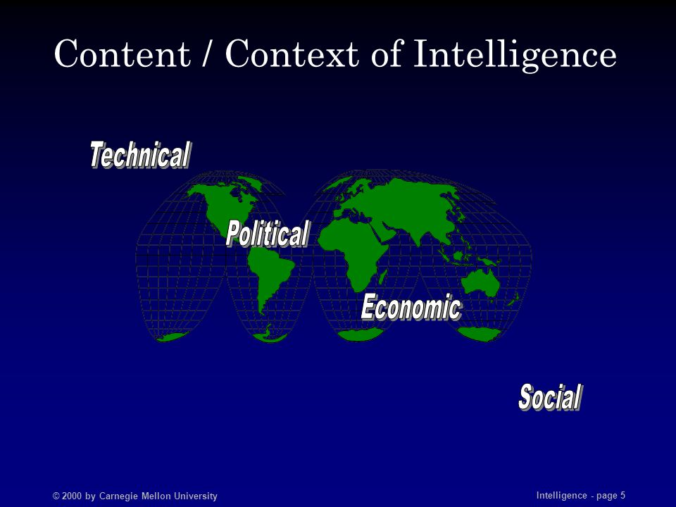 © 2000 by Carnegie Mellon University Intelligence - page 6 What is Cyber Intelligence.