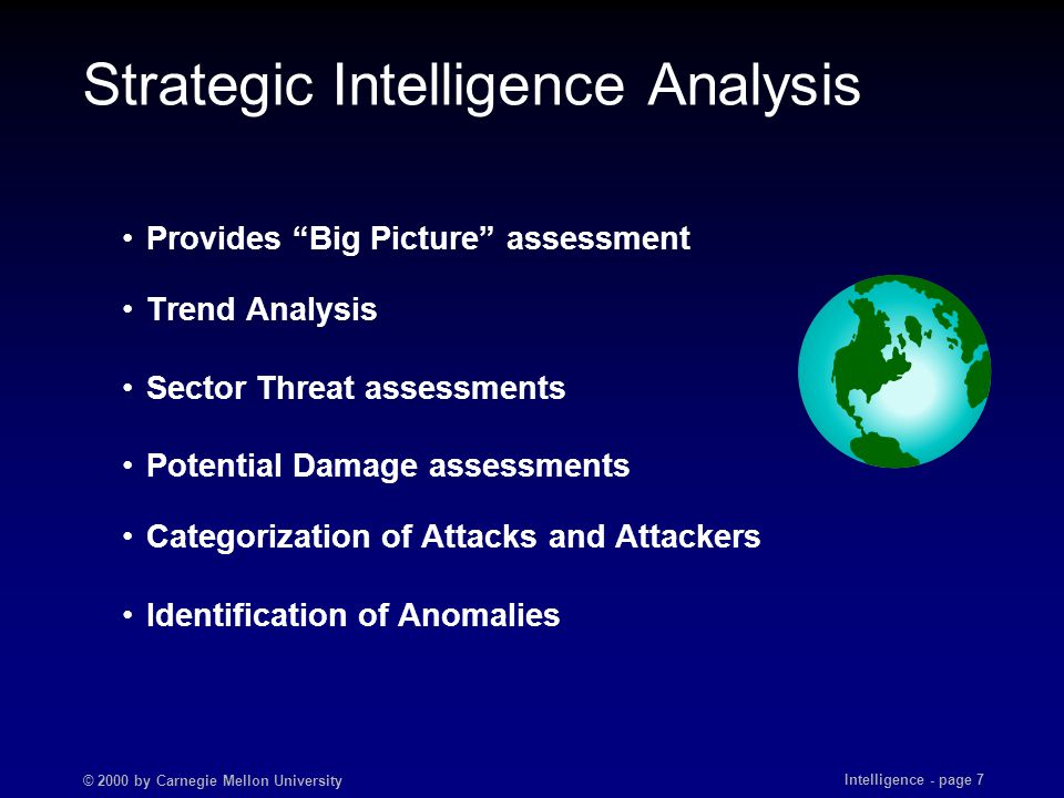 "© 2000 by Carnegie Mellon University Intelligence - page 7 Strategic Intelligence Analysis Provides ""Big Picture"" assessment Trend Analysis Sector Thr"