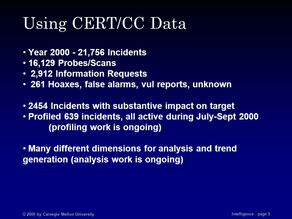 © 2000 by Carnegie Mellon University Intelligence - page 9 Using CERT/CC Data Year 2000 - 21,756 Incidents 16,129 Probes/Scans 2,912 Information Reque