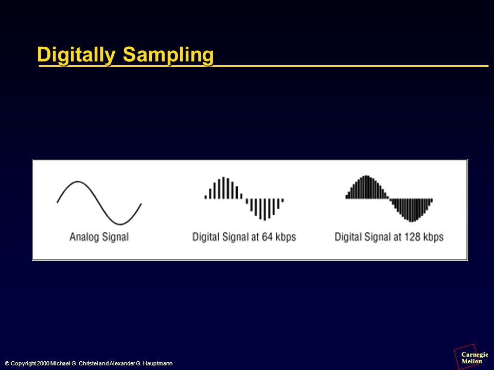 Carnegie Mellon © Copyright 2000 Michael G. Christel and Alexander G. Hauptmann Digitally Sampling
