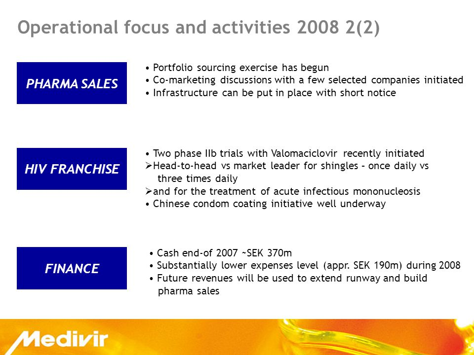 HIV FRANCHISE PHARMA SALES Operational focus and activities 2008 2(2) Portfolio sourcing exercise has begun Co-marketing discussions with a few selected companies initiated Infrastructure can be put in place with short notice Two phase IIb trials with Valomaciclovir recently initiated  Head-to-head vs market leader for shingles – once daily vs three times daily  and for the treatment of acute infectious mononucleosis Chinese condom coating initiative well underway FINANCE Cash end-of 2007 ~SEK 370m Substantially lower expenses level (appr.