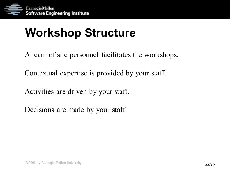 © 2001 by Carnegie Mellon University PPA-9 Workshop Structure A team of site personnel facilitates the workshops.